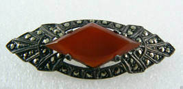Art Deco Sterling Silver 925 Marcasite Carnelian Pin Brooch bar Signed $0 sh image 2