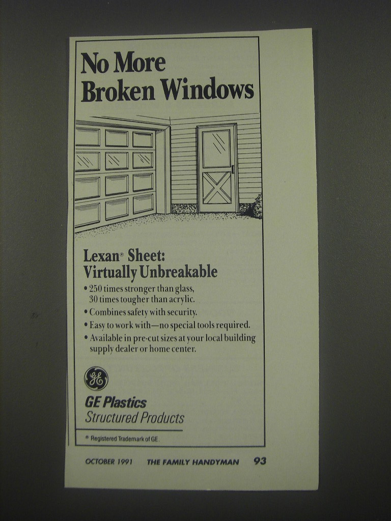 1991 GE Plastics Lexan Sheet Ad - No more broken windows