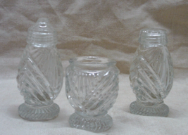 Vintage Three Piece Crystal Salt & Pepper Shaker and Toothpick Holder Set - $18.00
