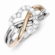 STERLING SILVER WITH ROSE PLATING POLISHED WAVY HEART CZ RING - SIZE 8 - £37.96 GBP