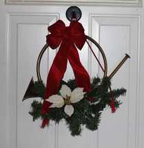 Hunting Horn Winter Wreath Holiday Door Equine Horse Decor Created by Cathy - €17,13 EUR
