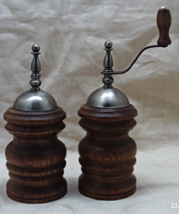 Vintage Wooden Pepper Mill & Salt Shaker // Dar... - $15.00