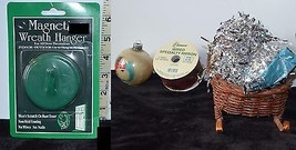 Mixed Lot of 5 Decorations, Wreath hanger, ornament, ribbon, straw buggy... - $18.79