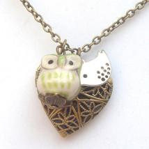 Antiqued Brass Bird Porcelain Owl Locket Necklace Handmade Vintage Style - $13.99