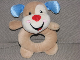 Fisher Price Stuffed Plush Puppy Dog Laugh And Learn Baby Toy Ring Rattle 2012 - $21.62