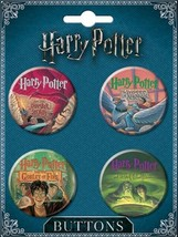 Harry Potter Hardcover Books Cover Art Four Button Literary Set #1 NEW U... - $7.84
