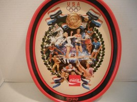"Vintage 15x12"" 1980 Coca Cola Olympic Committee Metal Tray Olympic Recor... - $21.46"