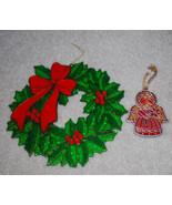 """LOT Vintage Christmas Ornaments Plastic Angel 3.5"""" & Wreath 8"""" Sun Catchers - $13.32"""