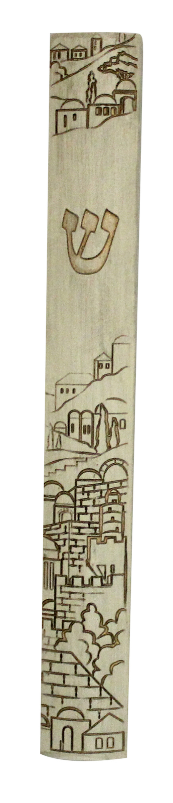 Judaica Mezuzah Case Polyresin Closed Back Engraved Jerusalem View Decor 12 cm