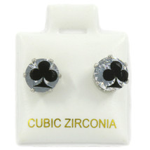 Clear Round 7mm Surgical Post CZ Earrings Clover Impressed Printed - £7.79 GBP