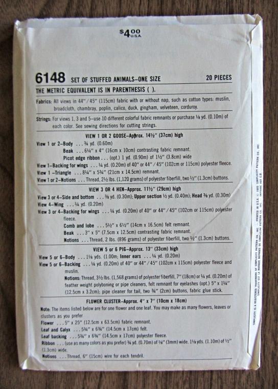Simplicity Crafts 6148 Stuffed Goose Pig Hen Pattern