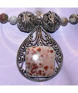 .925 Sterling Silver Fancy Agate Necklace with Pendant - $125.00