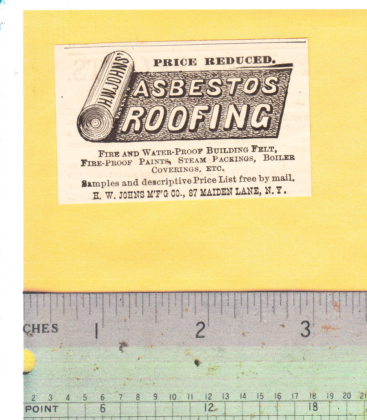 1887 Asbestos Roofing H. W. Johns Mfg Co Advertisement - $15.00