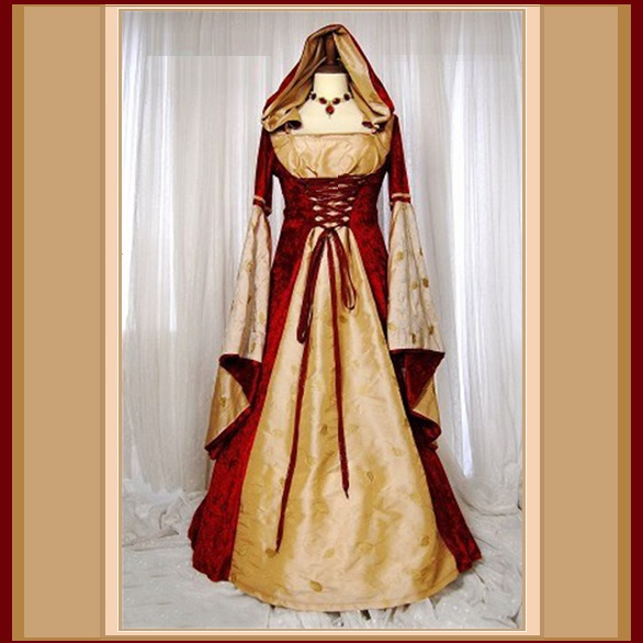 Renaissance Victorian Medieval Flare Sleeve Deep Red Gold Jacquard Lace Up