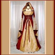 Renaissance Victorian Medieval Flare Sleeve Deep Red Gold Jacquard Lace Up - $149.95