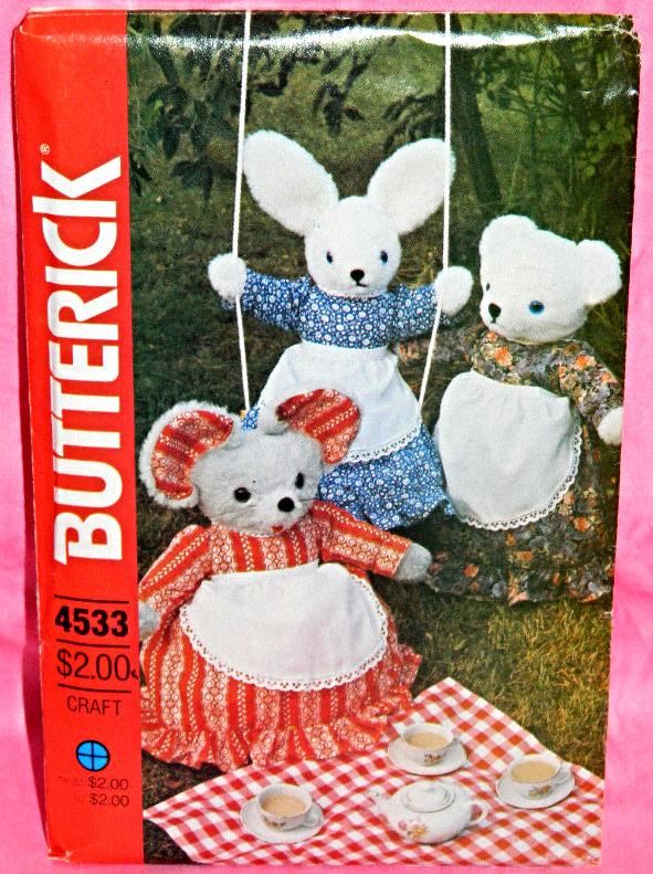 Butterick 4533 431 Stuffed Rabbit Mouse Bear Pajama Bag & Clothes Pattern