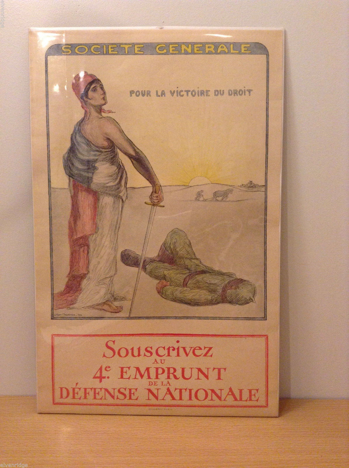 Vintage WW1 French Poster Souscrivez au 4e Emprunt de la Defense Nationale