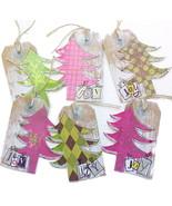Holiday Gift Tags Large 6 Pk Handmade Joy Trees Fuchsia Red Olive Green ... - $6.00