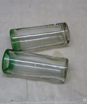 Two Vintage Hand Blown Green Trim Tall Shot Glasses // Barware - $8.00