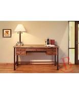 Rustic Benjamin Writing Desk Real High Quality Wood Western Style Metal ... - $688.05