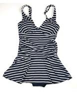 Cleanwater Women Size Small Black Stripe Spaghetti Strap One Piece Swims... - $17.75