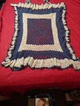 New Hand Crocheted  Blue White  Afghan Lap Blanket Throw Ruffle  - $24.75