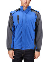 Men's Quilted Lined Removable Hood Two Toned Zipper Puffer Lightweight Jacket image 2