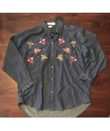 CASEY COLEMAN Blue Denim 100% Cotton Embroidered Angels Button Down Shir... - $18.70