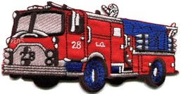 Fire engine truck rescue pumper red retro sewing applique iron-on patch ... - $2.95
