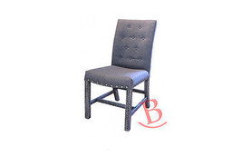 Upholstered Chair with Gray Fabric Seat and Back Neutral Simple Basic Di... - $311.85