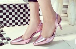 534s085 Sexy elegant kindle slingback pointed sandals, size 35-40, violet - $53.00