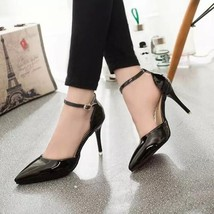591s093 Sexy elegant pointed ankle sandals, size 34-39, black - $70.00