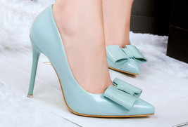 534s090 Sexy elegant pointed pumps w bow head, high heel,size 34-39, blue - $48.80