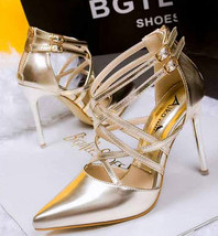 ps219 Sexy candy color pointed sandals w double strap, size 34-39, gold - $90.00