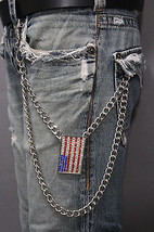Men Silver Metal Long Wallet Chains Links KeyChain American Flag USA Charm Jeans - $28.41