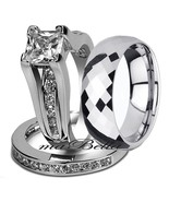 Couple 3 Pcs Hers .925 Sterling Silver His Tungsten Bridal Wedding Ring Band Set - $53.95