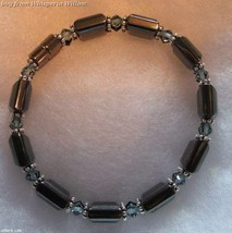 Double Strand Sapphire, Jet Crystals and Magnetic Hematite Fashion Bracelet - $16.95