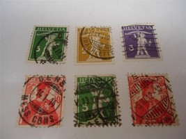 Lot of 6 Antique Official Switzerland 1908-1909 Stamps Make an Offer - $11.23