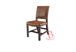 Chair with Bonded Leather Rustic Hardwood Construction Iron Cabin Logde - $351.45