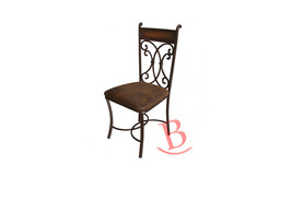 Hand Forged Chair with Microfiber Seat Rustic Iron Lodge Cabin - $301.95