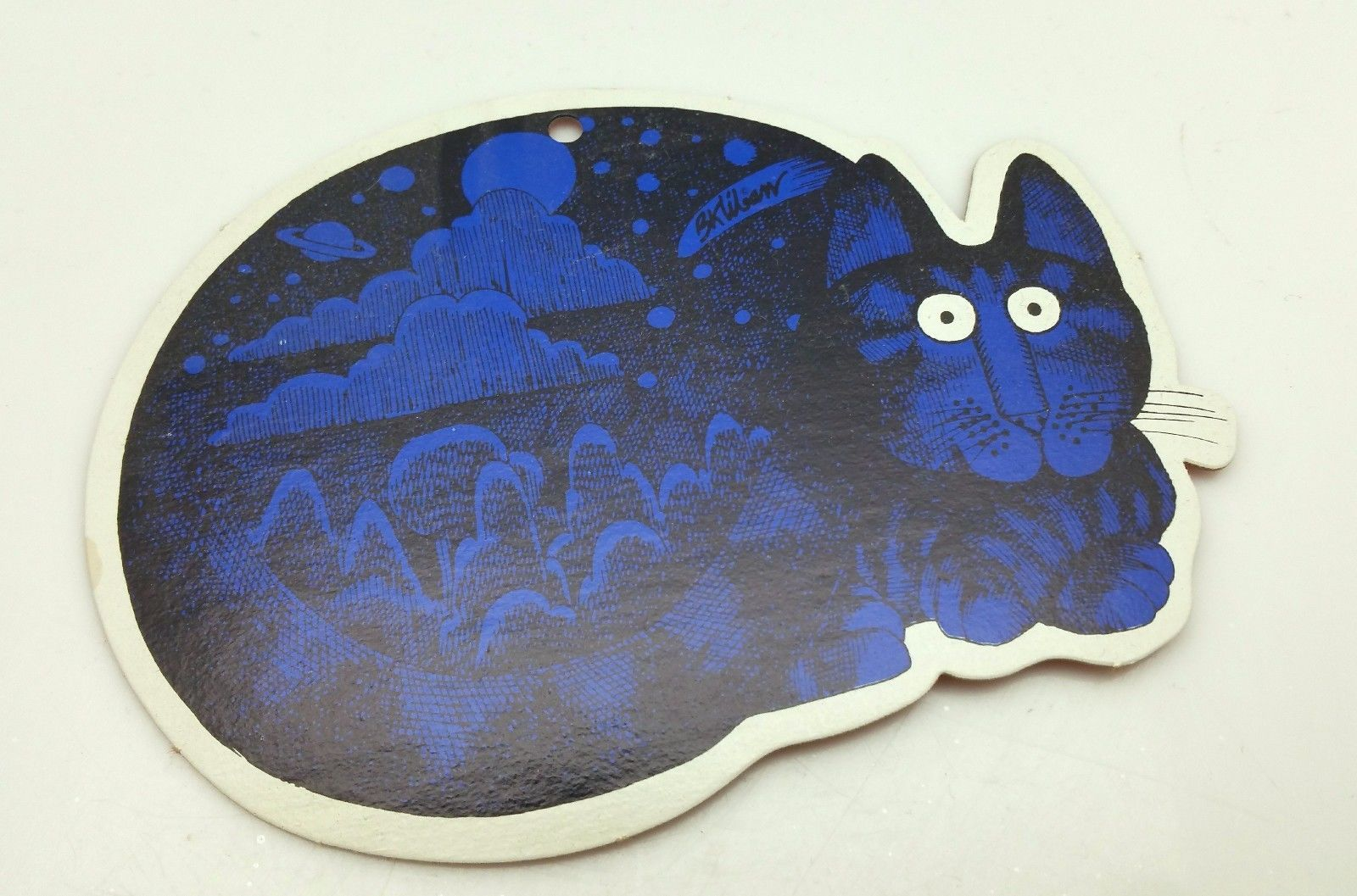 Primary image for B.Kliban Blue Cat Die Cut Ornament Yellow Backing