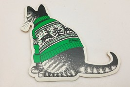 B.Kliban Cat in Green Reindeer Sweater Die Cut Ornament Yellow Backing - $7.43