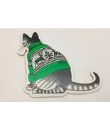 B.Kliban Cat in Green Reindeer Sweater Die Cut Ornament Yellow Backing - $7.43