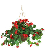 Geranium Silk Hanging Basket Nearly Natural 6609 - £39.32 GBP