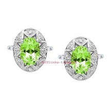 Natural Peridot & CZ  Gemstones with 925 Sterling Silver Cufflinks for men's - $115.00