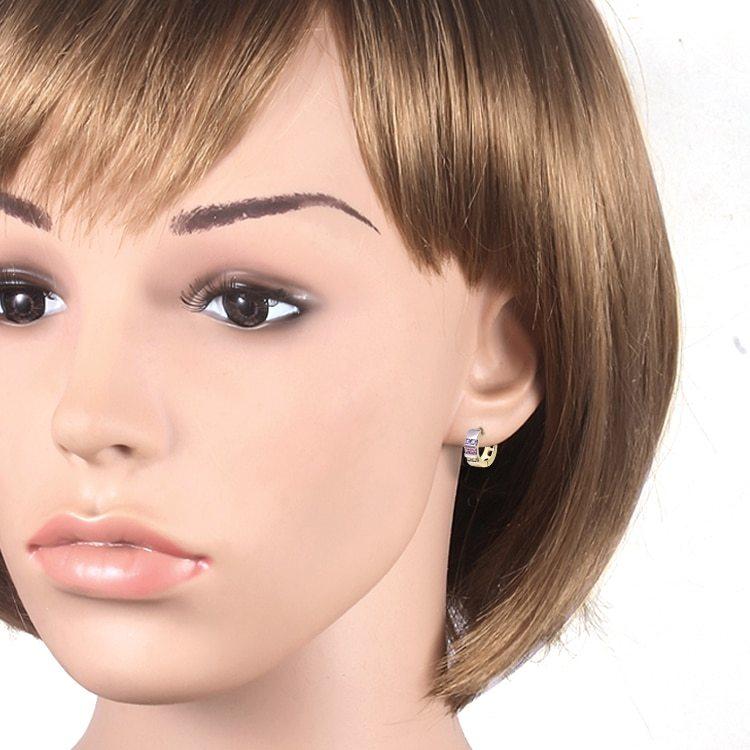 Wholesale Gold-Color Hoop Huggie Earrings For Women  Stone Crystal CC Earings Fa