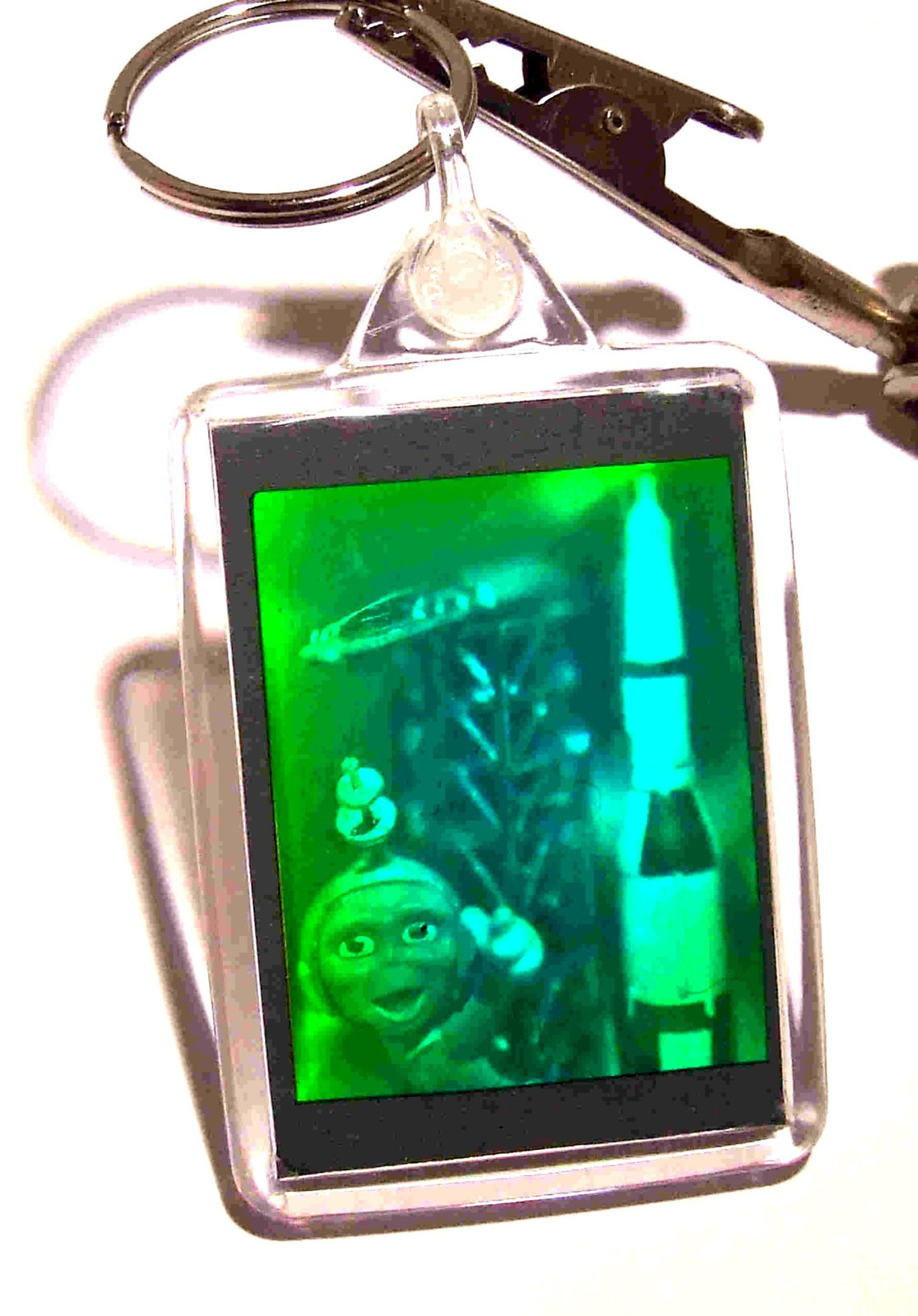 real 3d photo holograph hologram keyring laser holographic image alien and rocke