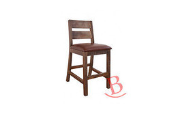 24in Barstool for Counter Height Table - with Faux Leather Seat Hardwood... - $301.95