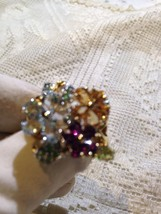 Nemesis Vintage Size 6 Handmade Sterling Silver Gold Finish Gemstone Ring - $154.28