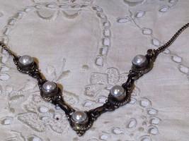 Nemesis Vintage White Pearl 92.5% Sterling Silver Choker Collar - $79.48